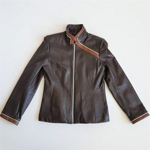 Boutique of leather Canada brown leather jacket.